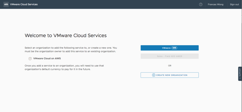 Turning on an instance of VMware Cloud on AWS(aka VMC